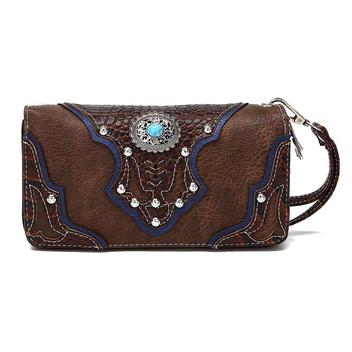 La Dearchuu Embossed Design Tooled Laser Cut Leather Rhinestone Studded Western Wristlet Purse for Women(brown) by La Dearchuu