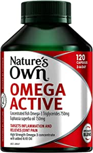 Nature's Own Omega Active - Specialised Omega - 3 Blend - Reduces Inflammation - Relieves Mild Joint Pain, 120 Capsules