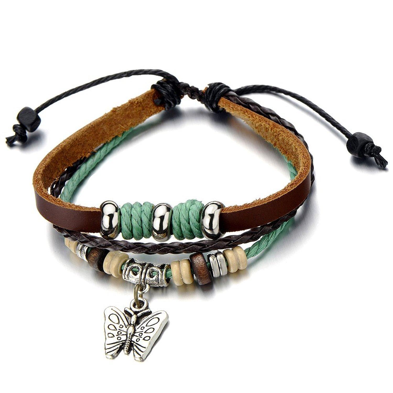 Butterfly Brown Leather Bracelet Wristband Wrap Bracelet for Women Girls COOLSTEELANDBEYOND FB-19-CA