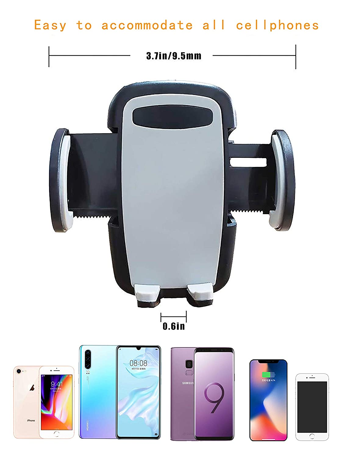 Compatible for iPhone Xs//XS MAX//XR//X 8//8 Plus//7//SE //6s //6 Plus //6 Cell Phone Holder for Car Air Vent Oternal Car Phone Mount Samsung Galaxy S6//S5//S4 Sony Nokia and More 2-Level Adjustable Clamp