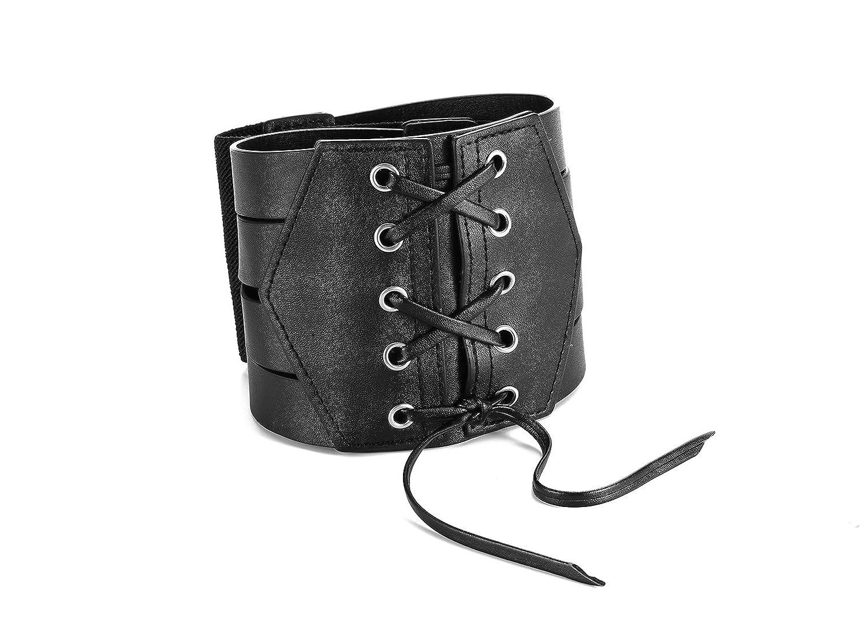 Women Elastic Waist Cinch Leather Belt-Stretch Sash for Ladies Wide Band Corset