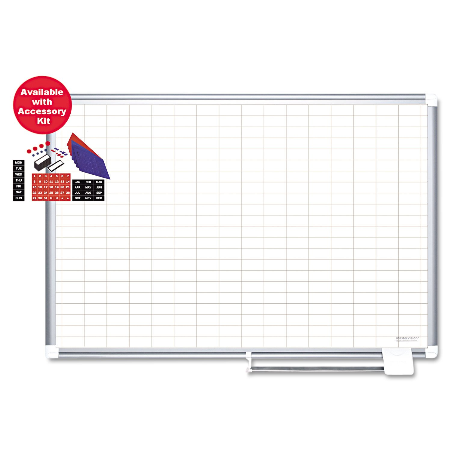 MasterVision Planning Board Magnetic Dry Erase 1'' x 2'' Grid Planner with Accessory Kit, 24'' x 36'', Aluminum Frame by MasterVision