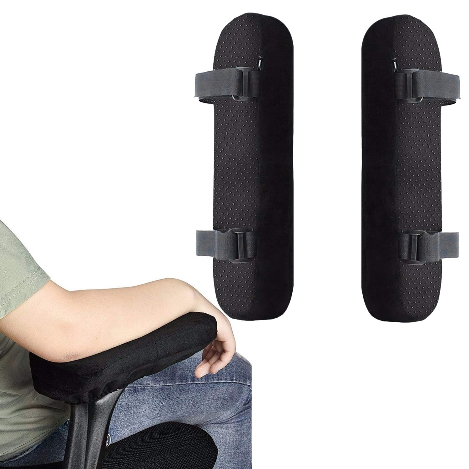 StyleZ A Pair Office Chair Armrest Pad Elbows and Forearms Pressure Relief Memory Foam Chair Arm Rest Cover