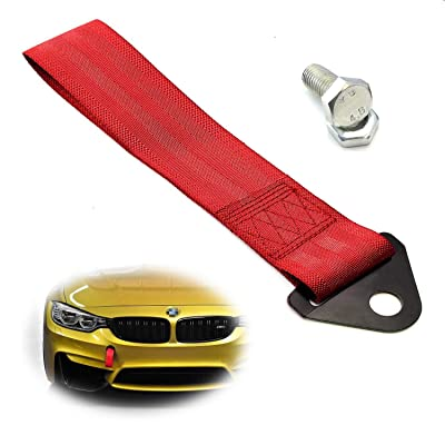 iJDMTOY Sports Red Appearance Racing Style Nylon Tow Strap Universal Fit Compatible with Front or Rear Bumper: Automotive