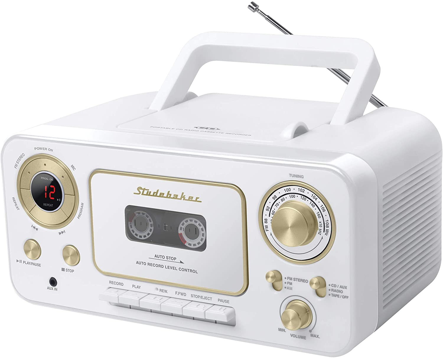 Studebaker SB2135WG Portable Stereo CD Player with AM/FM Radio and Cassette Player/Recorder in White and Gold