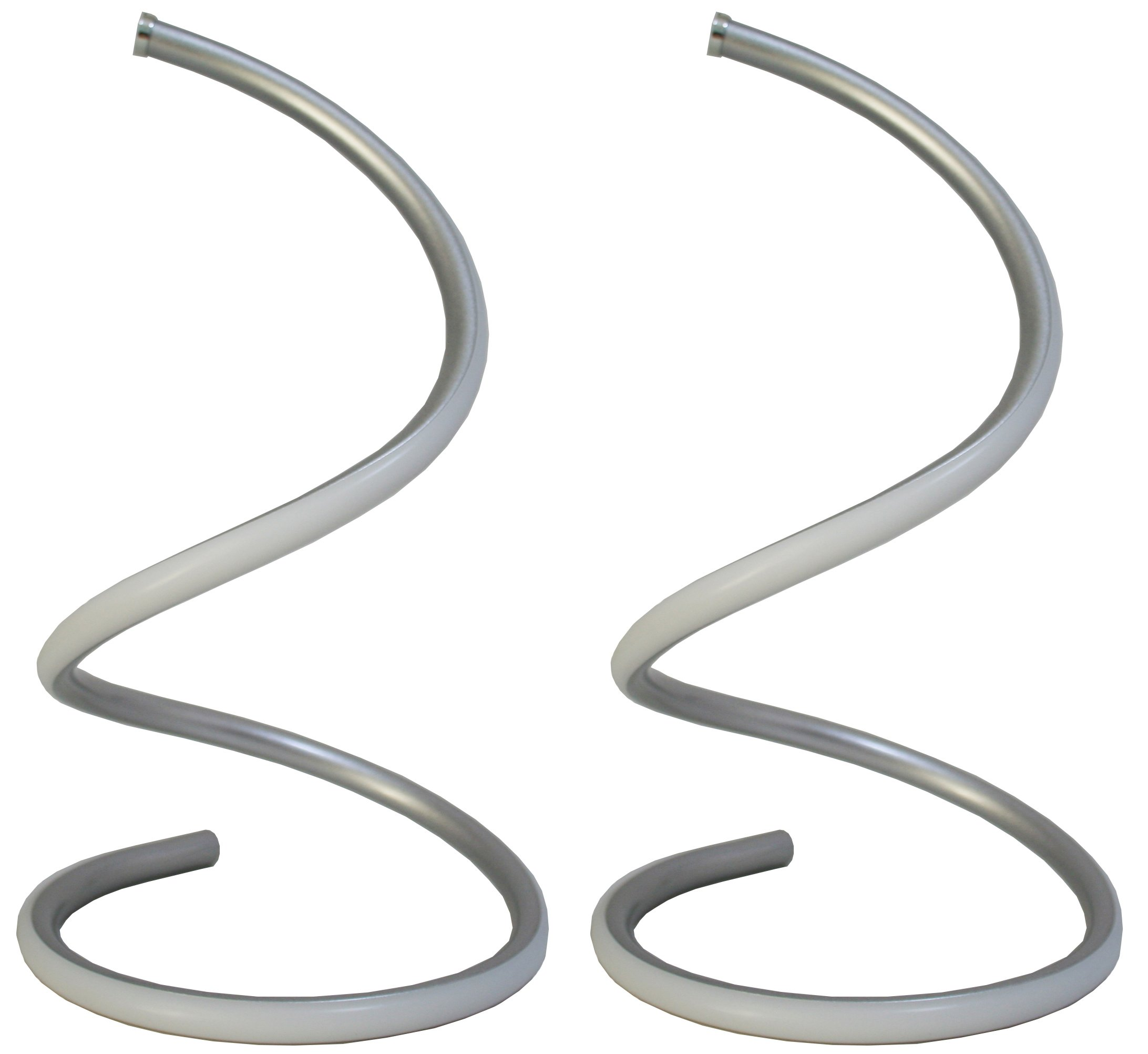 SkyeyArc Spiral LED Table Lamp, Curved LED Desk Lamp, Contemporary Minimalist Lighting Design, Cool White Light, Stepless Dimmable Light, 13W, Silver, Set of 2