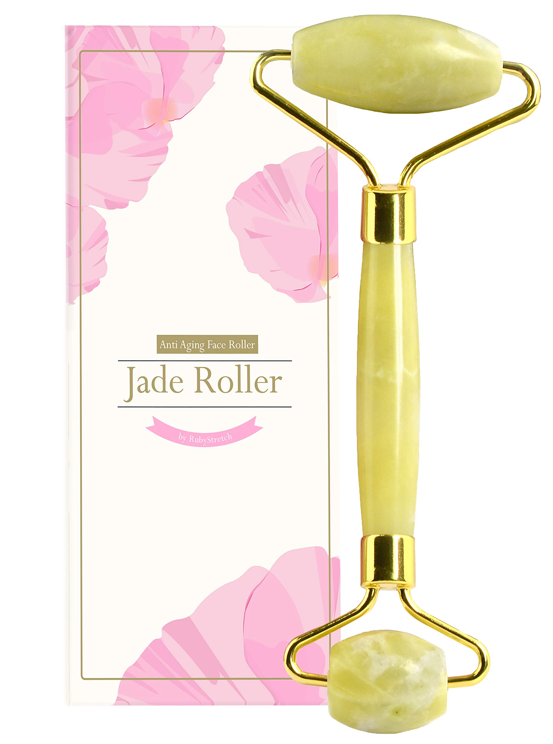 Jade Roller for Face, Eye & Neck - Jade Facial Roller Massager Made Natural Jade Roller For Face - Gua Sha Scrapping (Jade Roller for Face) by RubyStretch