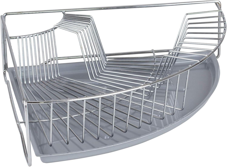 Dittzz Acero inoxidable pl/ástico. Escurreplatos de 2 pisos de acero inoxidable con soporte para cubiertos y bandeja colectora medium Blanco