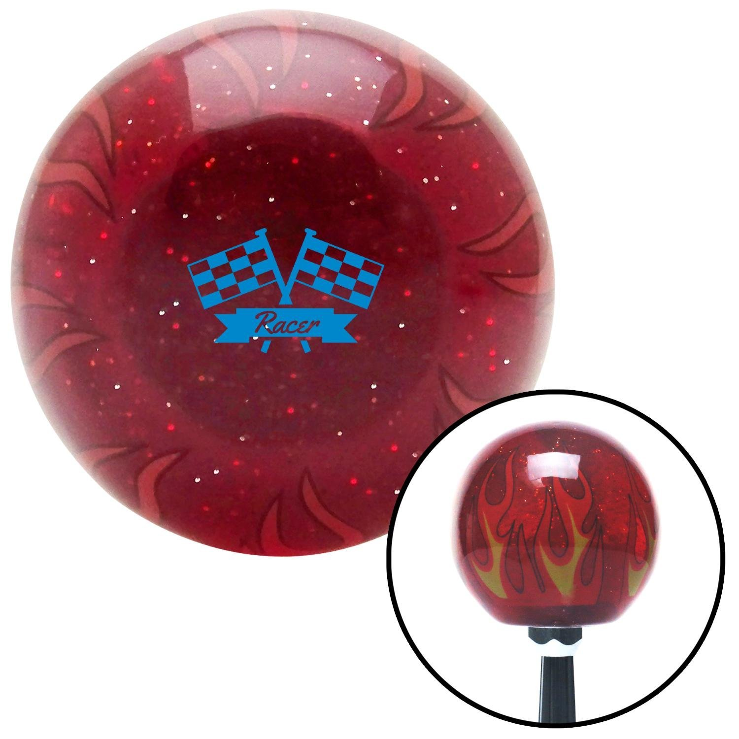 Blue Racer Red Flame Metal Flake with M16 x 1.5 Insert American Shifter 296937 Shift Knob