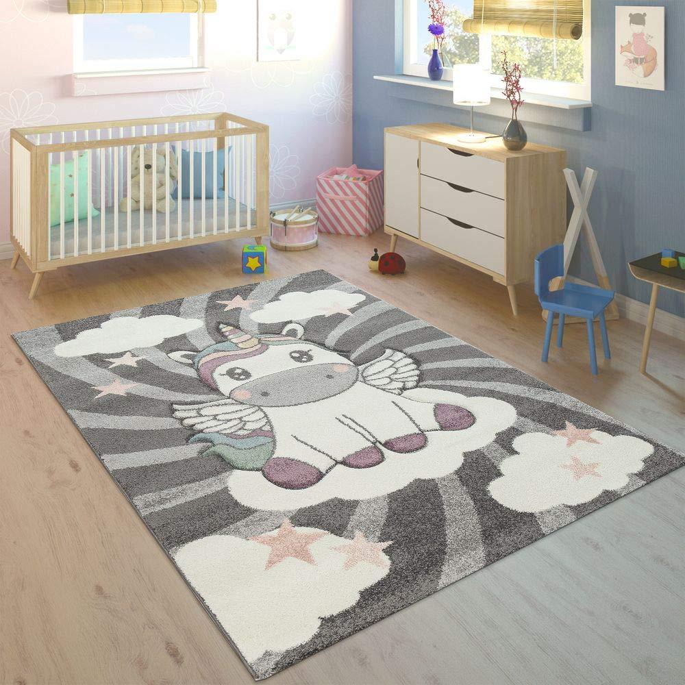 Paco Home Kinderteppich Kinderzimmer Mädchen Modern Einhorn Auf Wolken In Grau Rosa, Grösse:120x170 cm