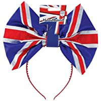 Amscan International 994963 Great Britain Adult Headband with Large Bow - Fits Most GB Decorations, Red, White and Blue, One Size