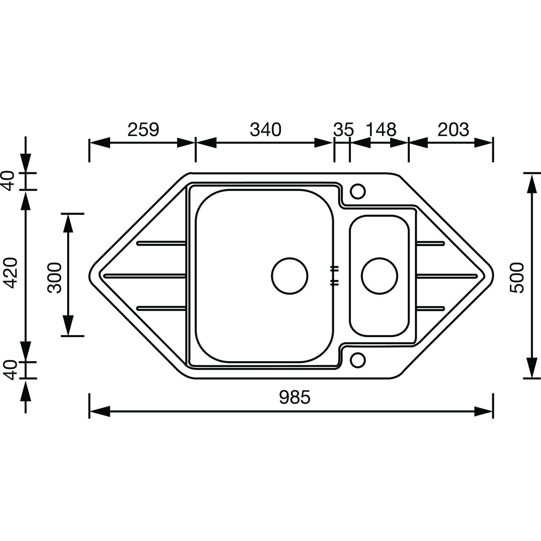 98.5/x 50/cm 1068476 alveus dangle /Évier encastrable en acier inoxydable 18//10 1/pi/èce Line 40