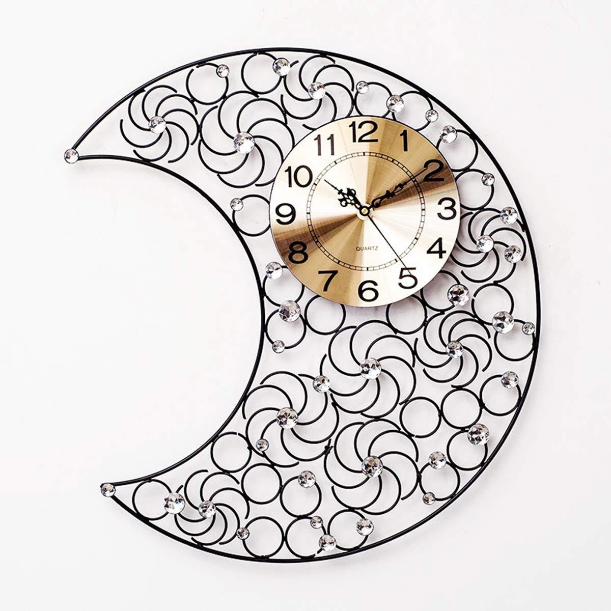 Cetengkeji 現代大きい月の水晶ダイヤモンドの居間のための錬鉄の柱時計の水晶無声壁時計 (Color : Black)  Black B07R4JHKKL