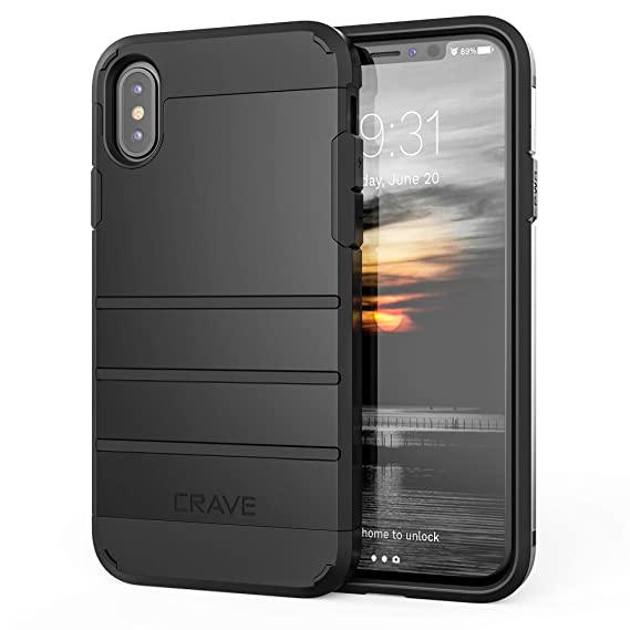 release date: d6769 f18b3 iPhone X Case, iPhone Xs Case, Crave Strong Guard Protection Series Case  for Apple iPhone X (5.8 Inch) - Black