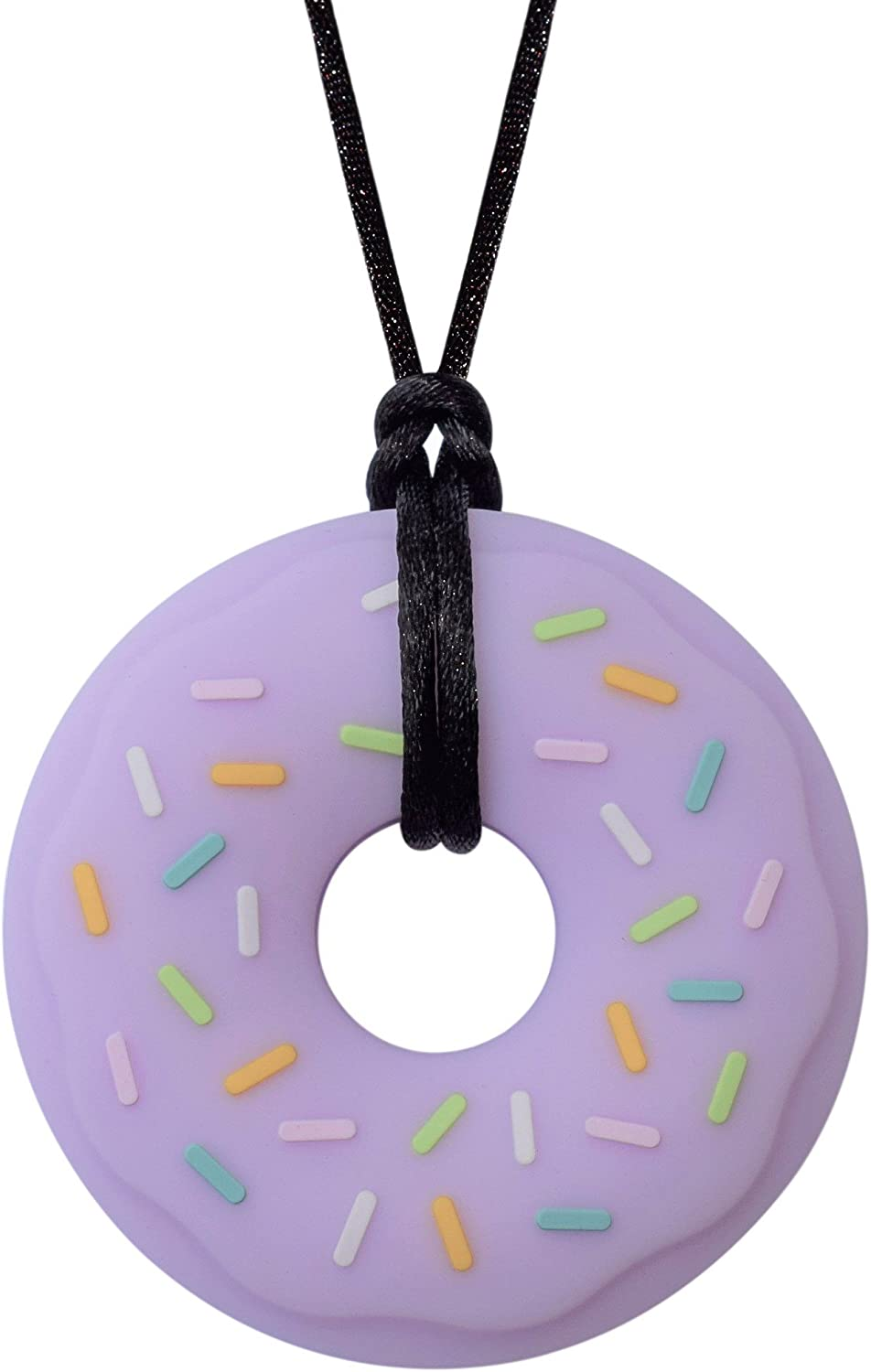 Munchables Donut Chewy Necklace - Sensory Chew Necklace for Boys and Girls (Purple on Black Cord)