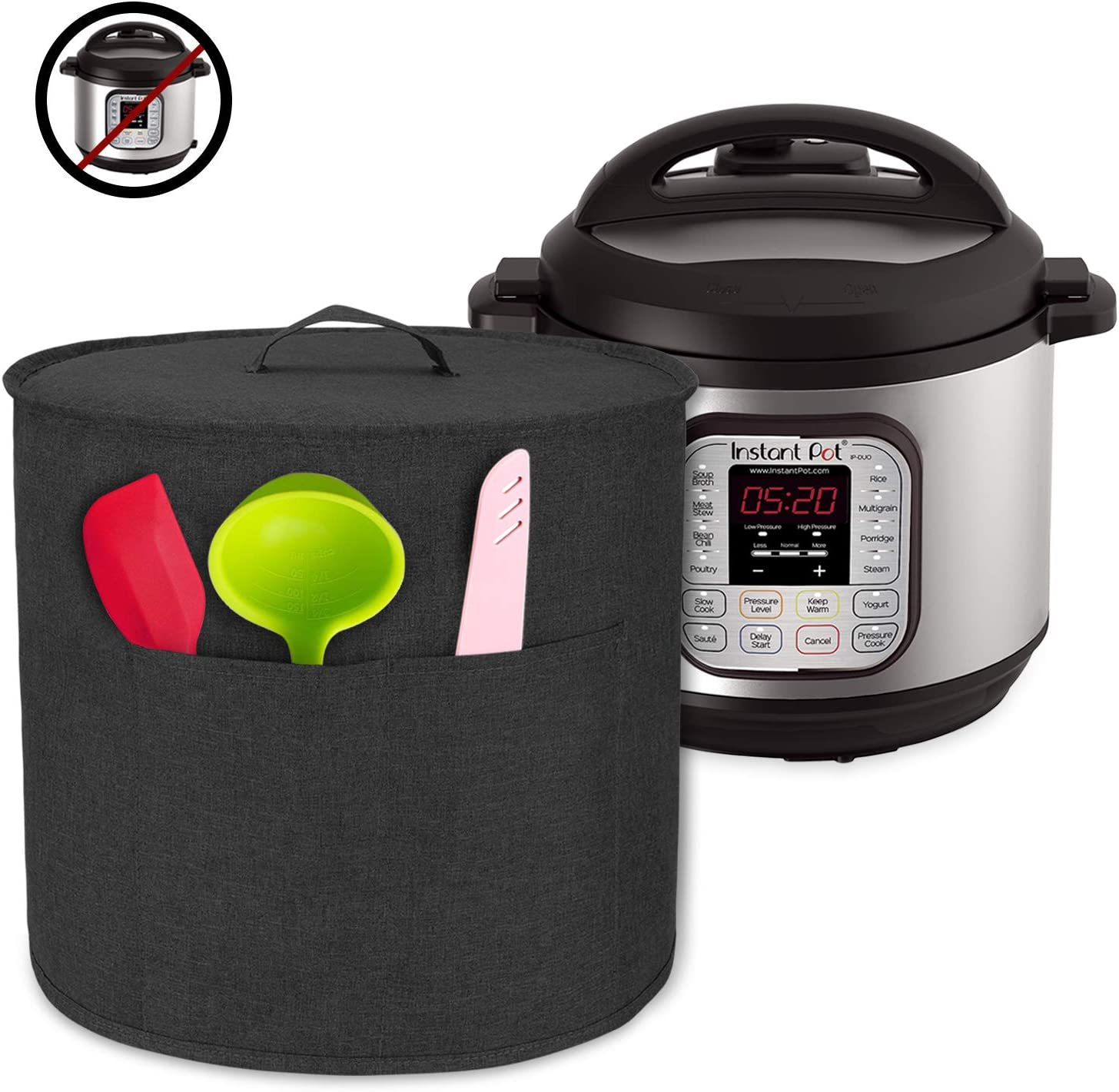 Luxja Dust Cover for 6 Quart Instant Pot, Cloth Cover with Pockets for Instant Pot (6 Quart) and Extra Accessories, Black (Medium)