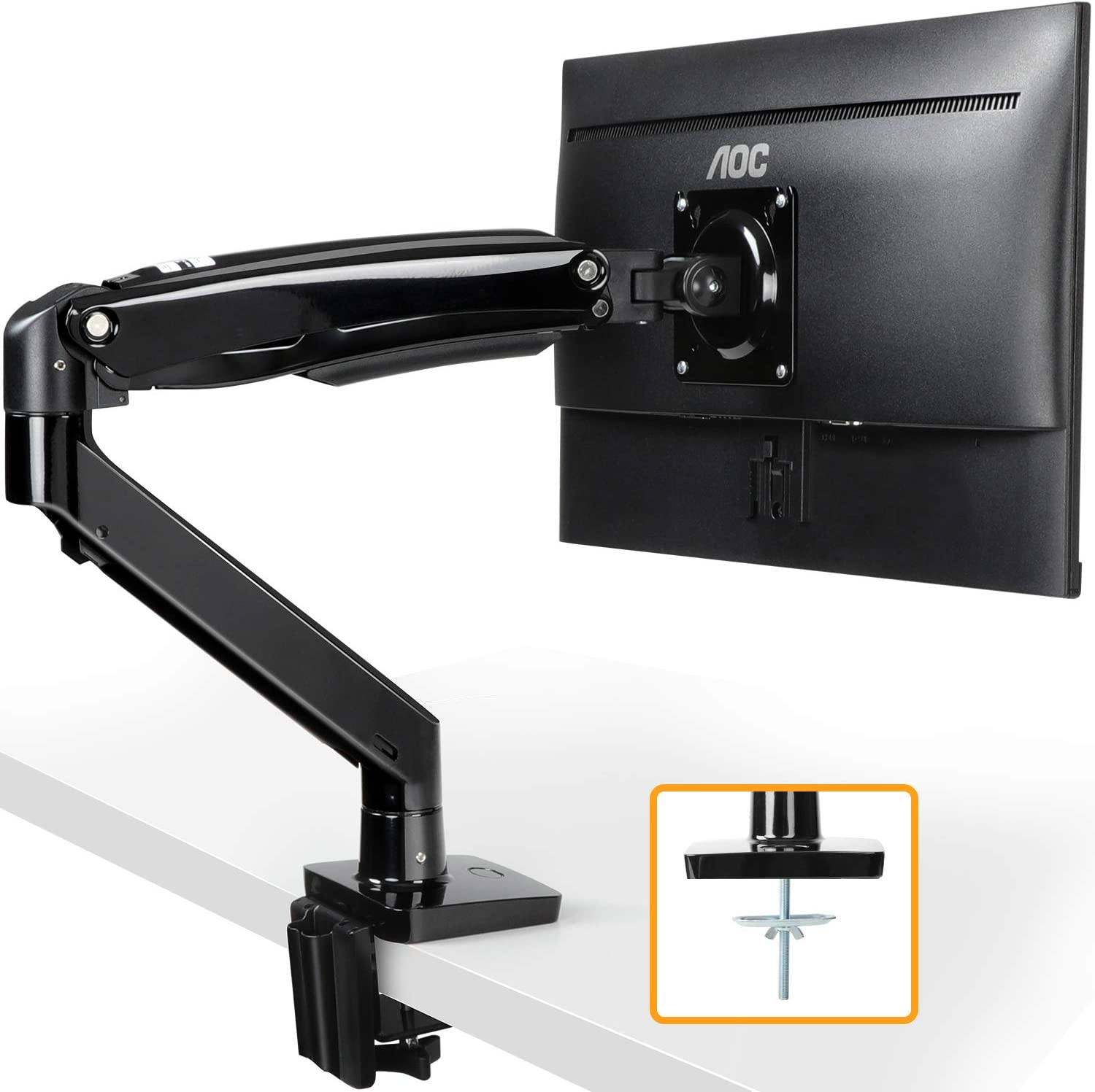 "ErGear 22-35"" Premium Single Monitor Stand Mount w/USB, Ultrawide Computer Screen Desk Mount w/Full Motion Gas Spring Arm, Height/Tilt/Swivel/Rotation Adjustable, Holds from 6.6lbs to 26.5lbs"