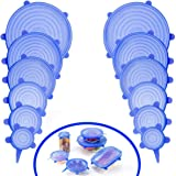 Silicone Stretch lid 12 Piece Set- Durable Expandable Food Saver Covers for Different Size Bowls, Cans, Cup, etc (Blue)