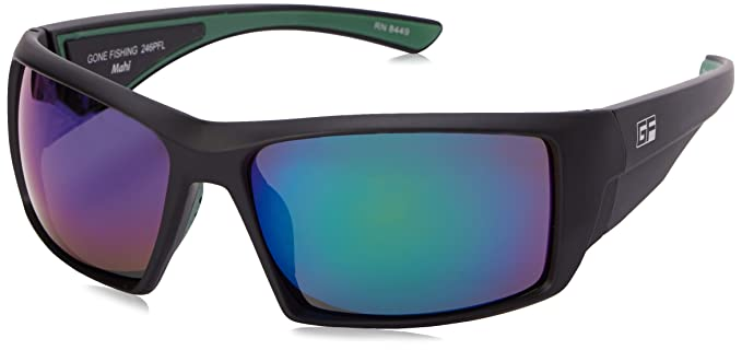 polarized sunglasses for fishing elr9  Gone Fishing Men's Mahi Polarized Iridium Wrap Sunglasses, Matte Black,
