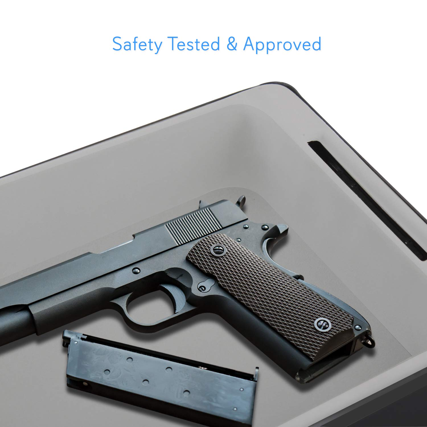 Portable Pistol Handgun Safe Box - Keyless Mechanical Lock Gun Security Storage Case with 3 Digit Secure Combination Locking, Mount Cable - for Firearm, Jewelry - Home, Car - SereneLife SLSFCR21 by SereneLife (Image #5)
