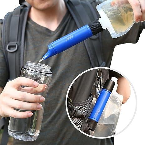 HiHill purificador de agua, filtro purificador de agua personal, minifiltro de agua para senderismo, camping, viajes