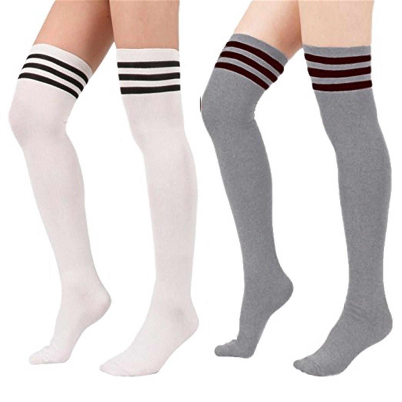 Spring Fever Women's Stripe Tube Dresses High Socks Brown SUDAABBCB1PSF