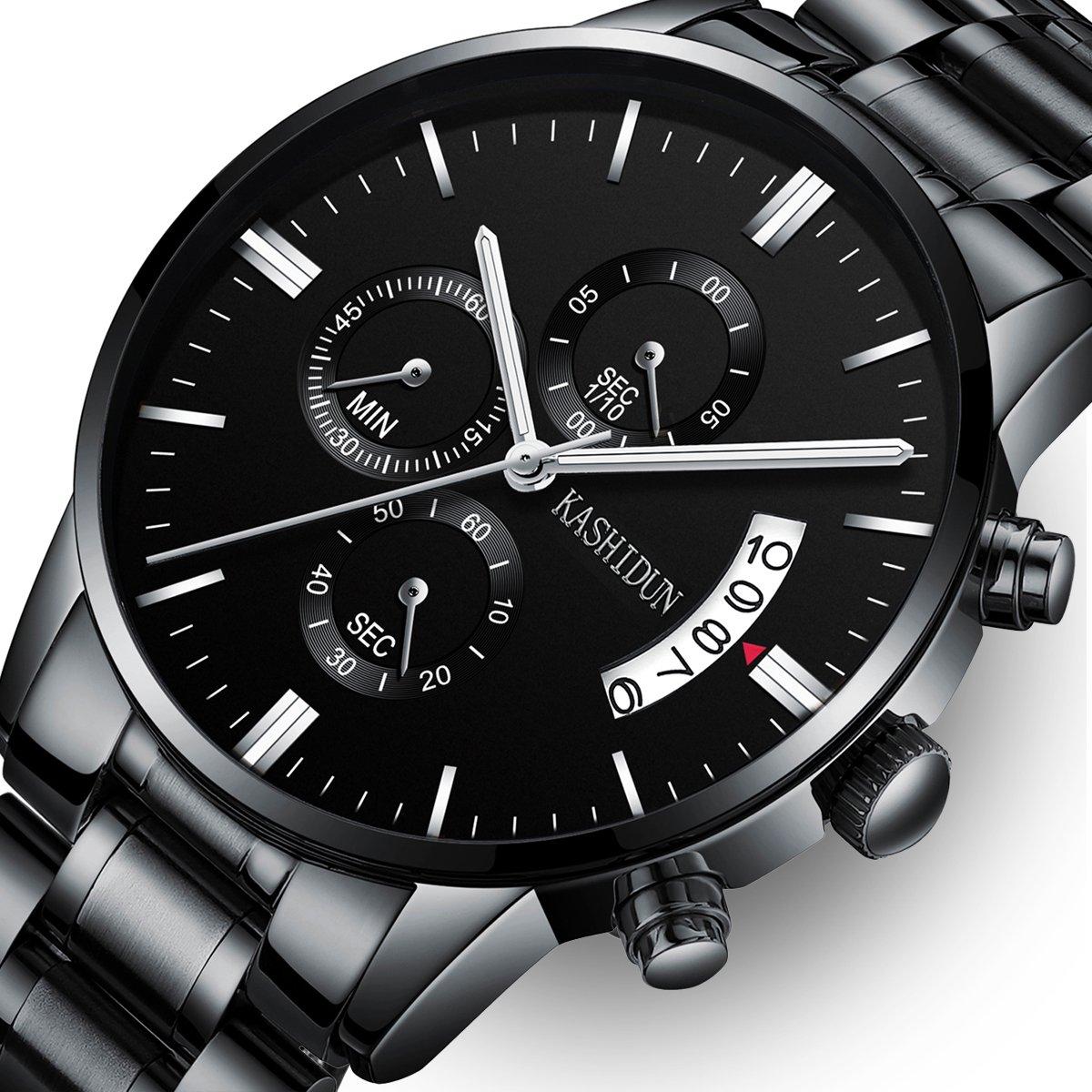 Mens Stainless Steel Watches Men Chronograph Waterproof Sport Date Quartz Wristwatch Classic Watch Black Color by KASHIDUN (Image #1)