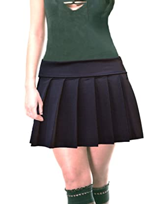 Plus Size Solid Black Stretch Lycra Schoolgirl Pleated Mini Skirt at ... 59aad57099f9