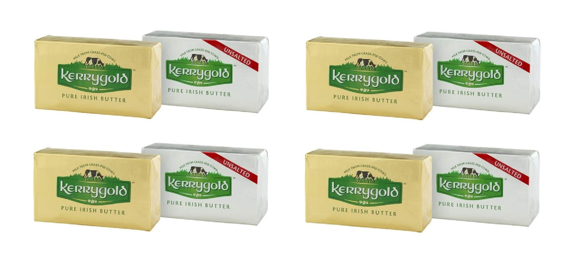 Kerrygold Pure Irish Butter Variety Pack - 4 Salted (8 ounce) and 4 Unsalted (8 ounce)