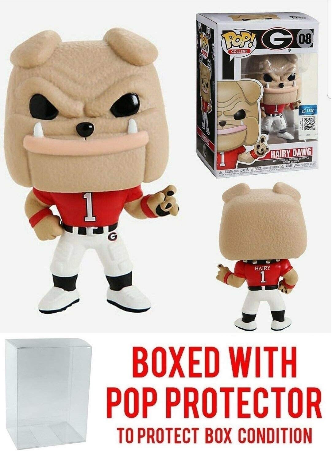 Hairy Dawg Georgia Bull Dogs Pop Bundled with Pop Shield Protector to Protect Display Box College Mascots NCAA Pop Action Figure