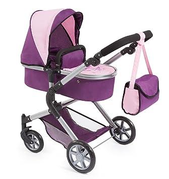 BAYER Landau pour poupée Neo Star prune et rose avec sac a bandouliere et panier dachat intégré réglable - convertible poussette