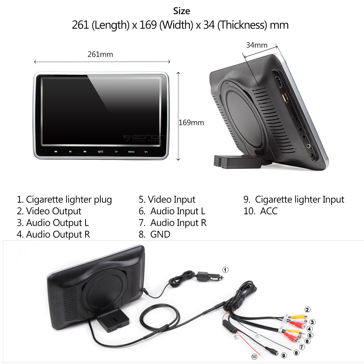 Eonon C1100A Black 10.1 Inch Clip-on Digital Screen Headrest Monitor with DVD Player One Pair by Eonon (Image #3)