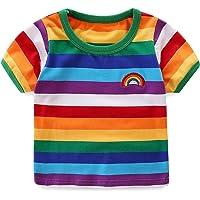Moon Tree Boys Rainbow Striped Shirt Cotton Long Sleeve T-Shirts T-Shirts
