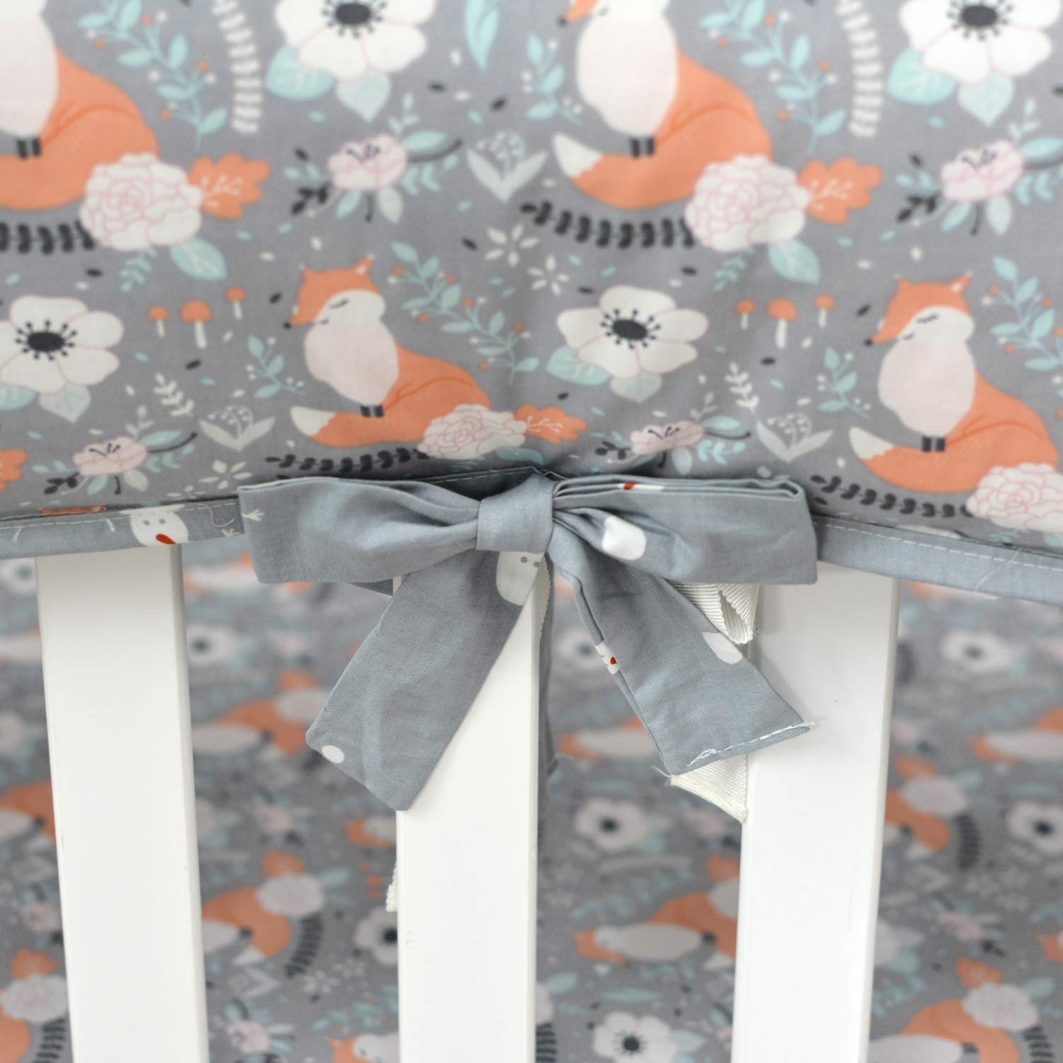 Brandream Window Valance Floral Curtain Baby Valance with Fox Print for Baby Boys//Girls Nursery Gray//White