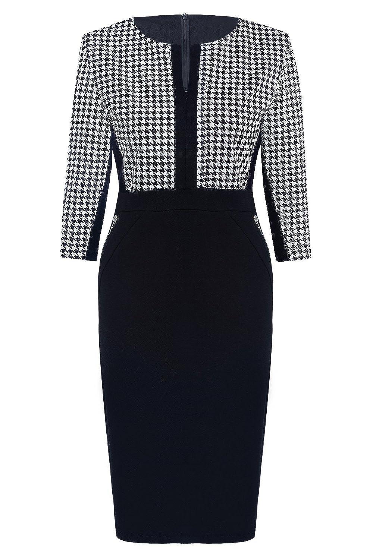 Womdee(TM) Women Formal Houndstooth-Print 2/3 Sleeve Scoop Neck Business Pencil Dress