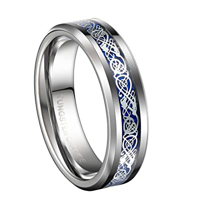 queenwish 6mm blue silvering celtic dragon tungsten carbide ring wedding bands mens jewelry - Celtic Mens Wedding Rings