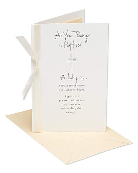 dfc29f832f67c American Greetings Religious Piece of Heaven Baptism Greeting Card with  Ribbon and Foil