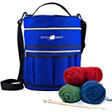 Stitch Happy Designer Knitting Bag Yarn Storage with 7 Multi-Use Pockets and Extra Large Zippered Pocket for Crochet Supplies Inner Organizer Protects Crochet Thread Wool Yarns (Cobalt)
