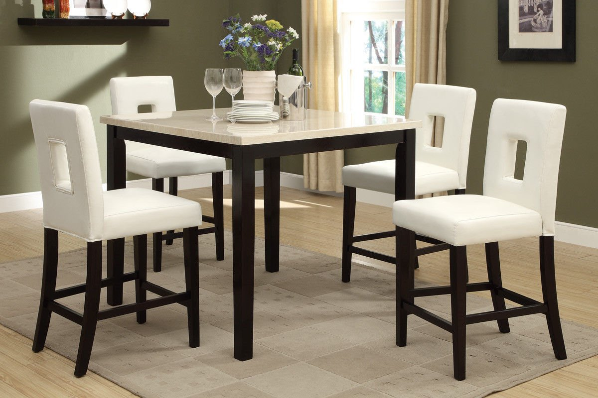 Captivating Amazon.com   Poundex F2338 U0026 F1322 Faux Marble Top W/White Leatherette  Stools Counter Dining Set   Table U0026 Chair Sets