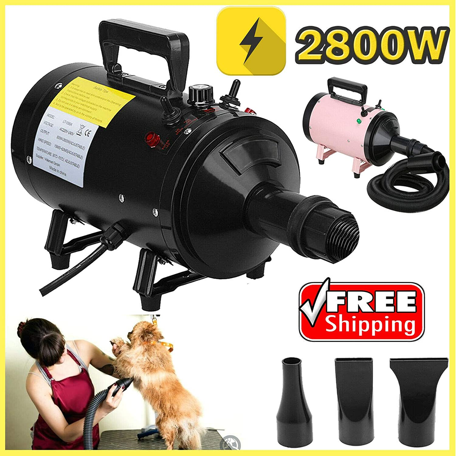 Black (stepless wind speed) 2800W Stepless Speed Pet Grooming Hair Dryer High Velocity Dog Cat Hairdryer Blower Blaster 2.5M Flexible Hose with 3 Nozzles Black