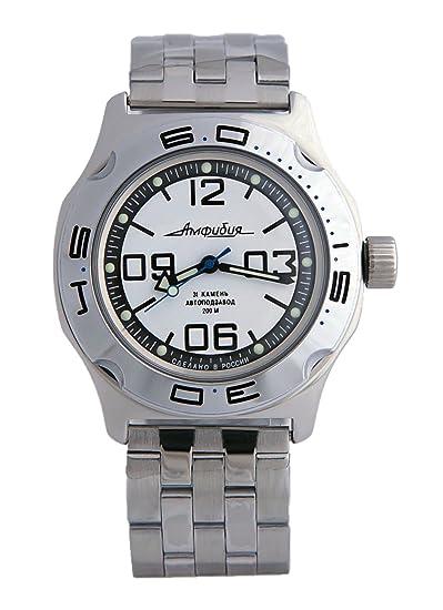 Vostok Militar ruso Diver reloj de anfibios blanco clásico 2416/100816: Amazon.es: Relojes