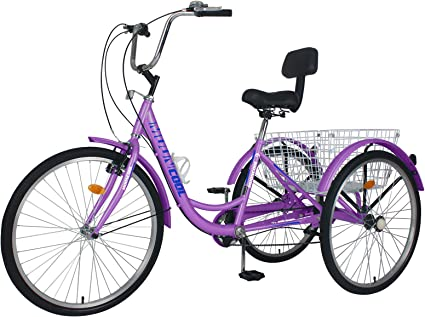"""24/"""" 7-Speed Adult Tricycle 3-Wheel Trike Cruiser Bicycle w//Basket for Shopping"""