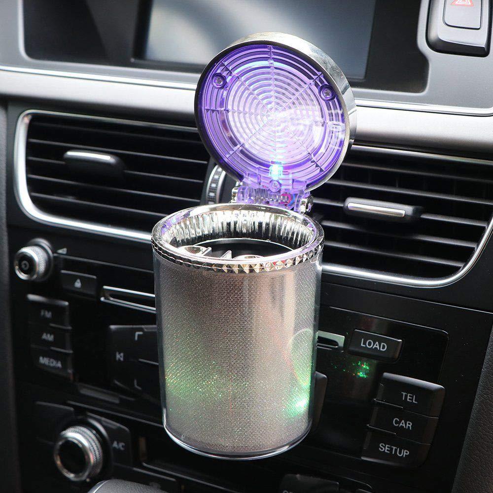 L/üftungsschlitz selbstl/öschend rauchfrei GFEU Auto-Aschenbecher SUV Standzylinder Zuhause B/üro Aschenbecher mit LED-Licht und Deckel f/ür Auto LKW tragbar