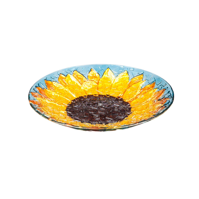 Evergreen Sunflower Crushed Glass Bird Bath Bowl