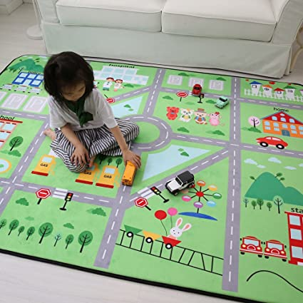Thickened Grey Living Room Floor Mats Childrens Anti-Skid Crawling Mats Baby Climbing Pad Game Rugs 59 by 79 Inches