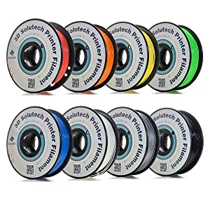 3D Solutech B07HFKNGNT 3D Printer PLA Filament Bundle 1.75MM, Dimensional Accuracy +/- 0.03 mm, 2.2 lbs 1.0KG (Multi-Pack of 8)
