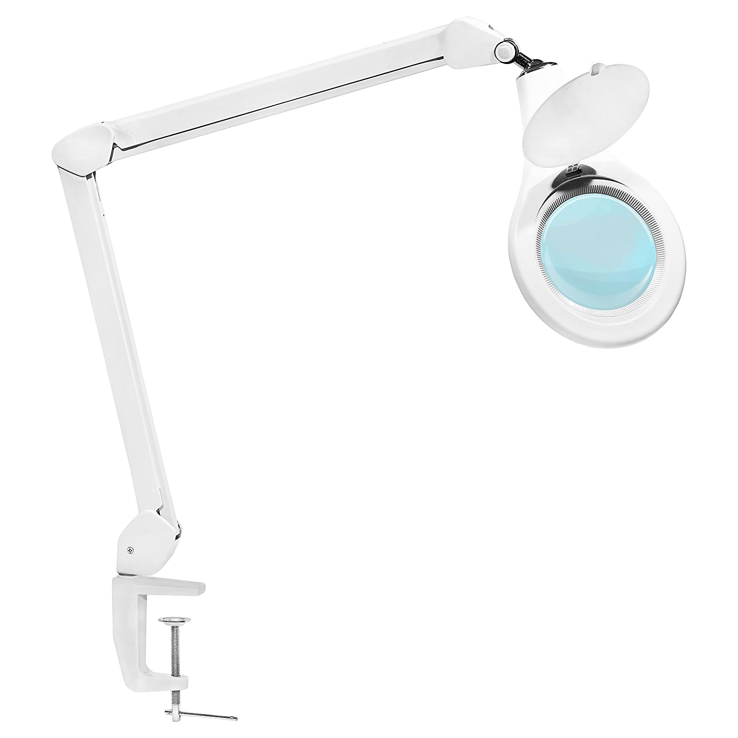 Vision Lighting LED Magnifying Lamp with Clamp - Ultra Bright Task Magnifier 5 Diopter Glass Lens with 2.25x Magnification Adjustable Arms for Hobby Craft Esthetician Work - White Circuit-Test FCM-820LED
