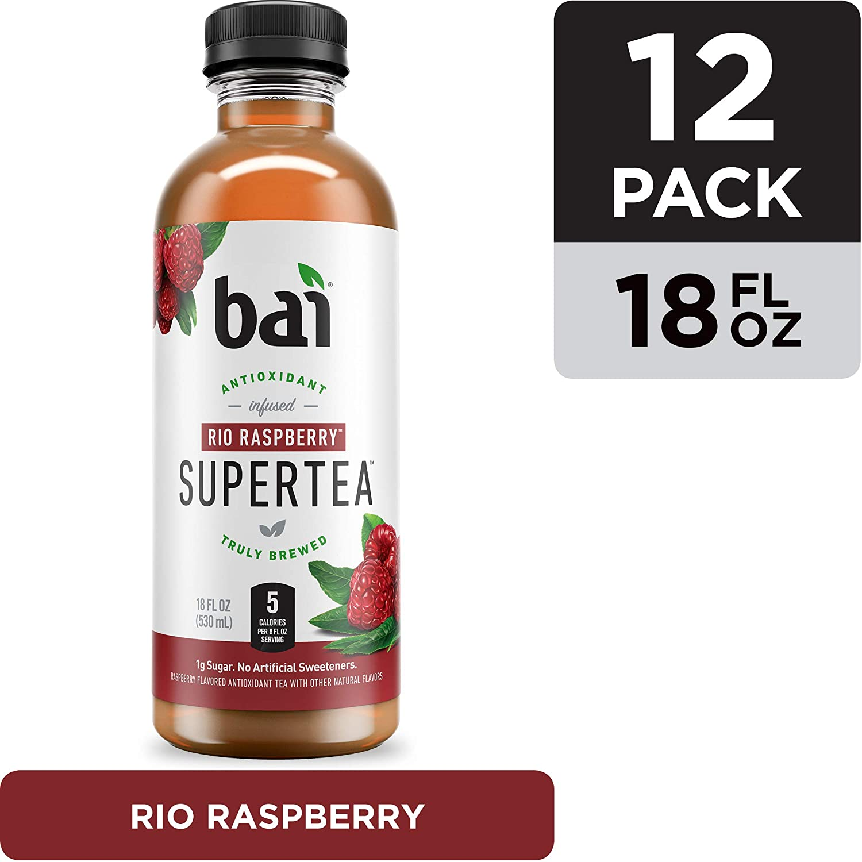 Bai Iced Tea, Rio Raspberry, Antioxidant Infused Supertea, Crafted with Real Tea (Black Tea, White Tea), 18 Fluid Ounce Bottles, 12 count
