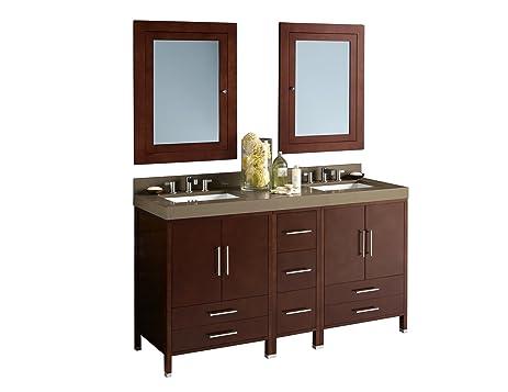 RONBOW Juno 61 Inch Bathroom Vanity Set In Dark Cherry, Double Bathroom  Vanity With Top