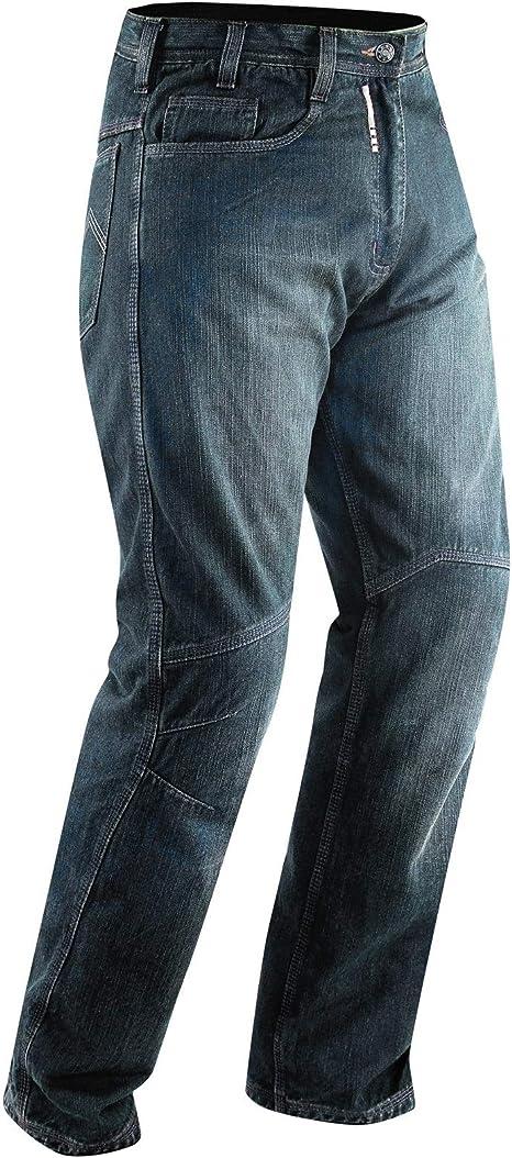 A-Pro Jeans Pantaloni Moto Scooter Protezioni CE Omologate Rinforzo Fianchi Blu 42